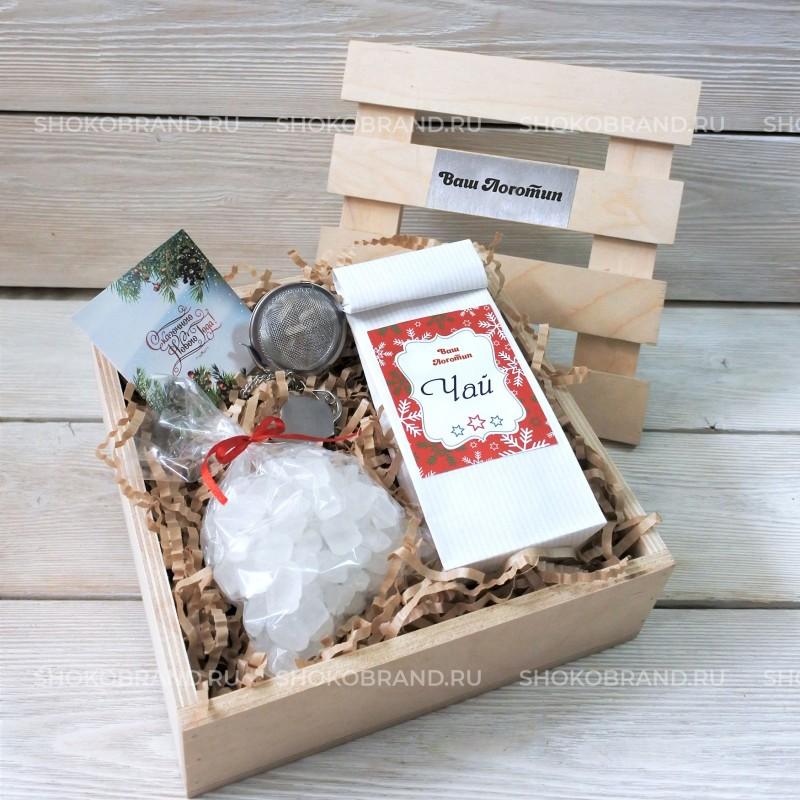 Корпоративный подарок Чайный набор в реечном ящике